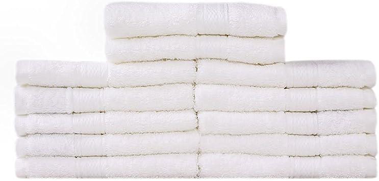 Takestop® Juego de 6 toallas blanco blancas Viso grandes 55 x 95 ...