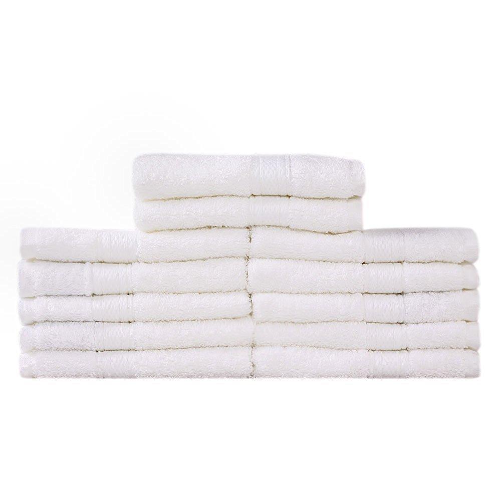 Takestop® Juego de 6 toallas blanco blancas Viso grandes 55 x 95 cm toalla esponja algodón liso baño: Amazon.es: Electrónica