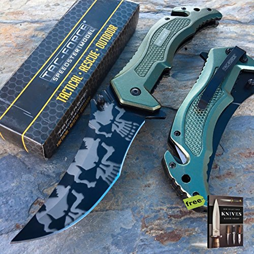 "Tac Force Spring Assited Knife 5"" Green Aluminum Handle 4"" Skull Camo Carbon Steel Razor Sharp Blade + Free eBook by SURVIVAL STEEL"