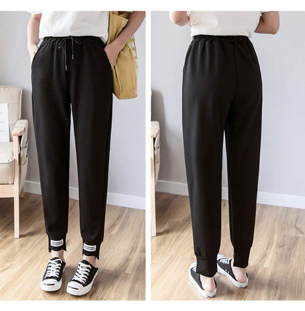 GBUIA Women Pants Women Pants Spring Summer Female Solid Loose Elastic Waist Trousers Harem Pants Streetwear Sweatpant
