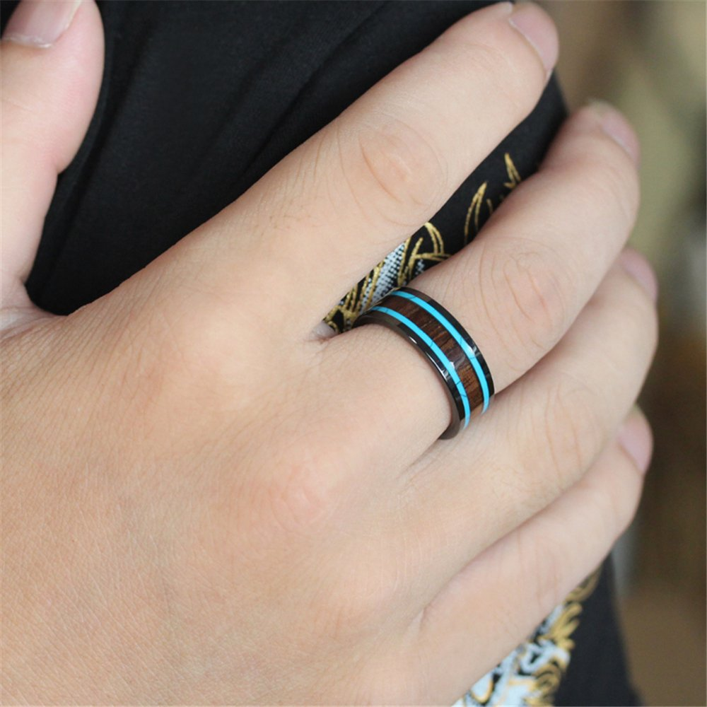 Men Women 8mm Black Ceramic Ring Vintage Wedding Engagement Band with Koa Wood Two Lines Solid Turquoise Size 11 by Fashion Month (Image #5)