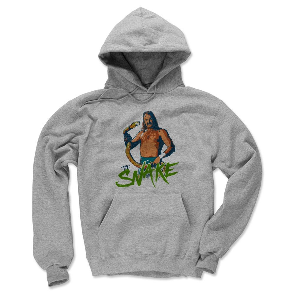 Jake The Snake Roberts Men's Hoodie - XXX-Large Gray - Old School WWF Wrestling Apparel - Jake The Snake Stare G