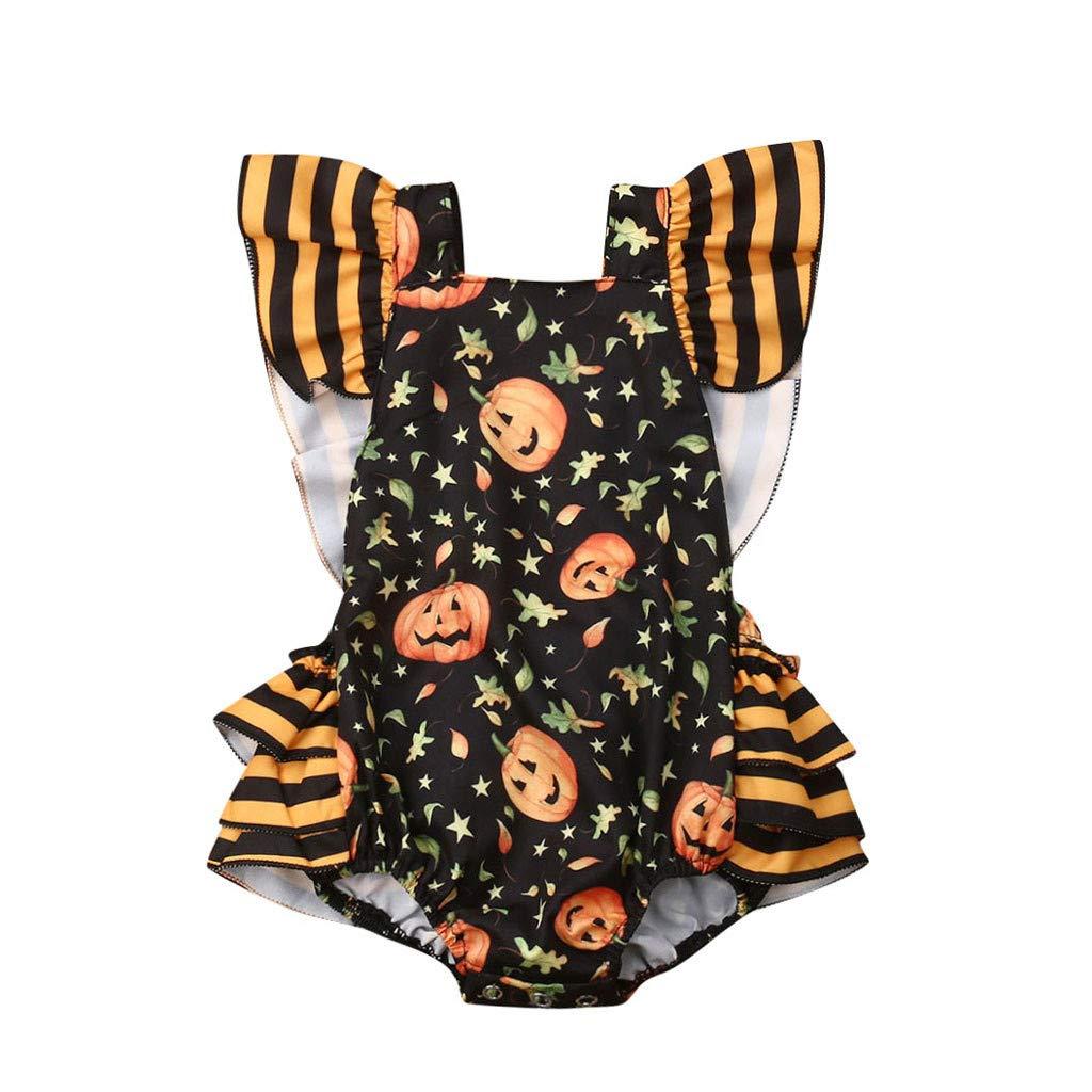Mono para Ni/ñas de Impresi/ón de Halloween de Calavera Negro 6M-24M Baby Boy Baby Girl MYONA Ropa Bebe Ni/ña