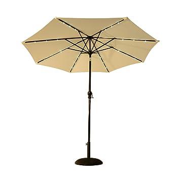 Amazon.com : Outsunny 8.5\' Solar LED Market Patio Umbrella (Cream ...