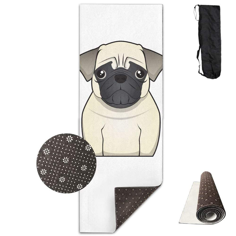Yoga Mat Non Slip Sadly Bulldog Printed 24 X 71 Inches Premium for Fitness Exercise Pilates with Carrying Strap