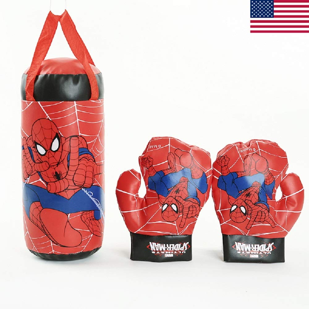 EvelynSemple11 Kids in Outdoor Sports Boxing Toys M-Arvel Sp-iderman Superhero Toy Gloves Sandbag Set for Chidren Boys Beginner Birthday Gifts