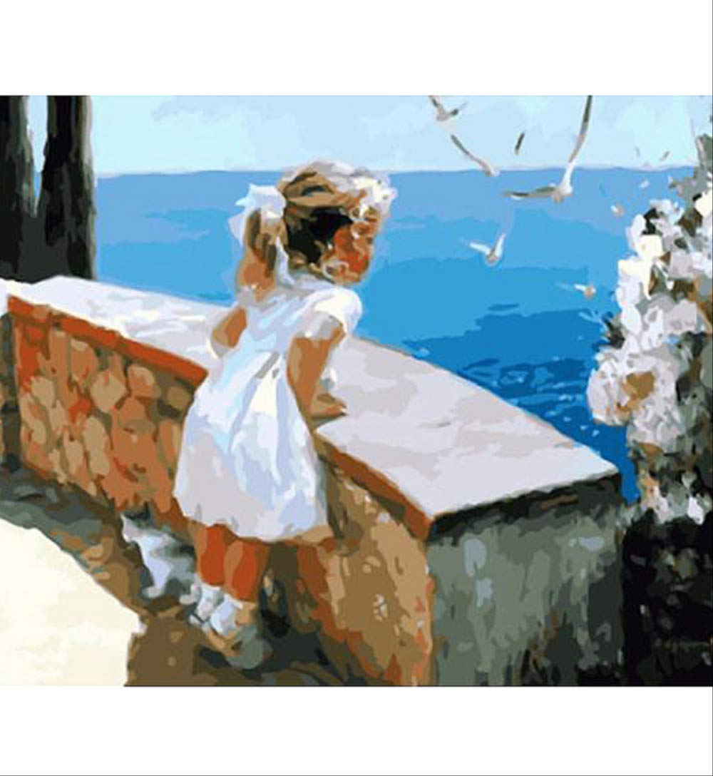 7JOHN Chica Mirando la Figura del Paisaje, Pintura de ...