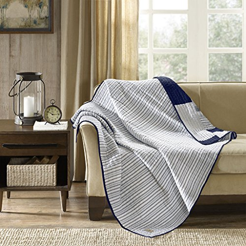 Woolrich Riverview Luxury Oversized Cotton Quilted Throw Blue 50x70   Plaid Premium Soft Cozy 100% Cotton Percale For Bed, Couch or Sofa