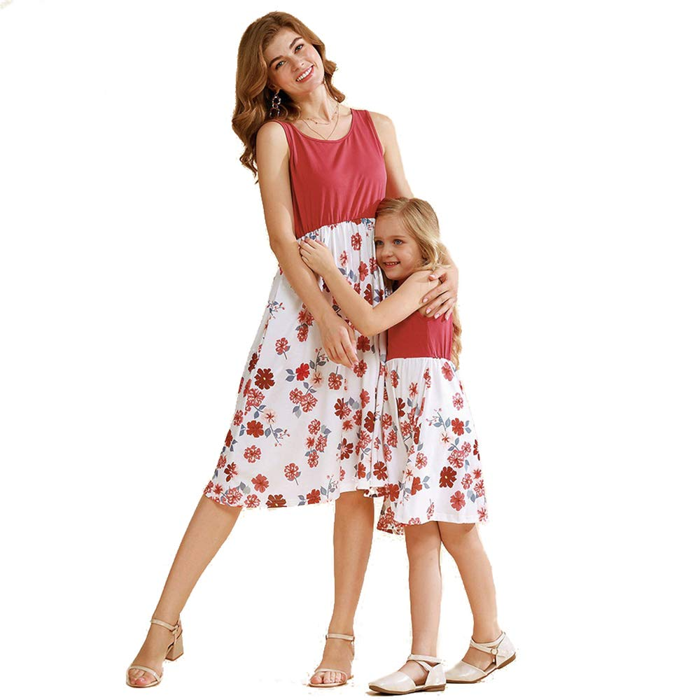 Yaffi Mommy and Me Matching Maxi Dress Summer Sleeveless Floral Casual Long Dress
