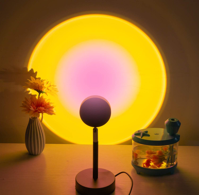 Sunset Lamp Projector Intrbleu 180 Degree LED Sunset Light Projection Lamp Romantic