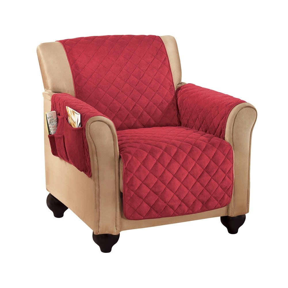 Micro Fleece Quilted Furniture Protector Cover with Pockets, Burgundy, Chair Collections Etc