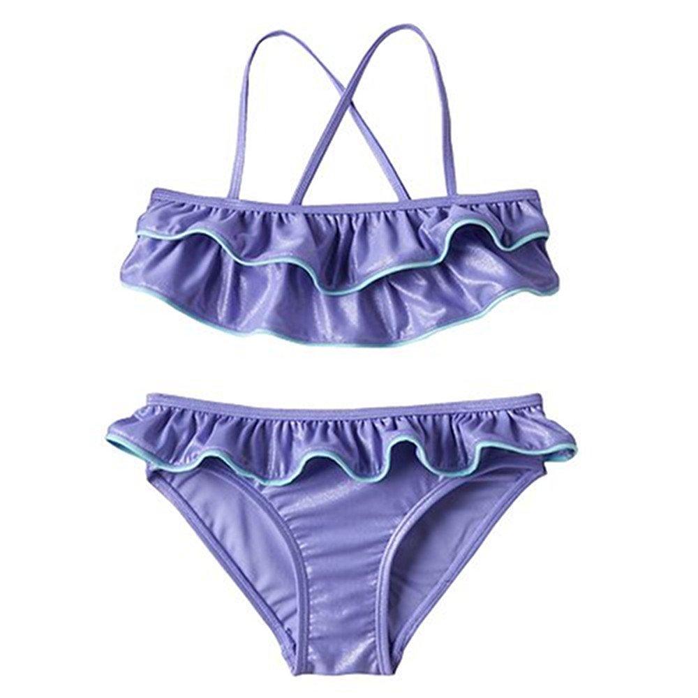 Girls SO Purple Ruffle Bikini Swimsuit Set