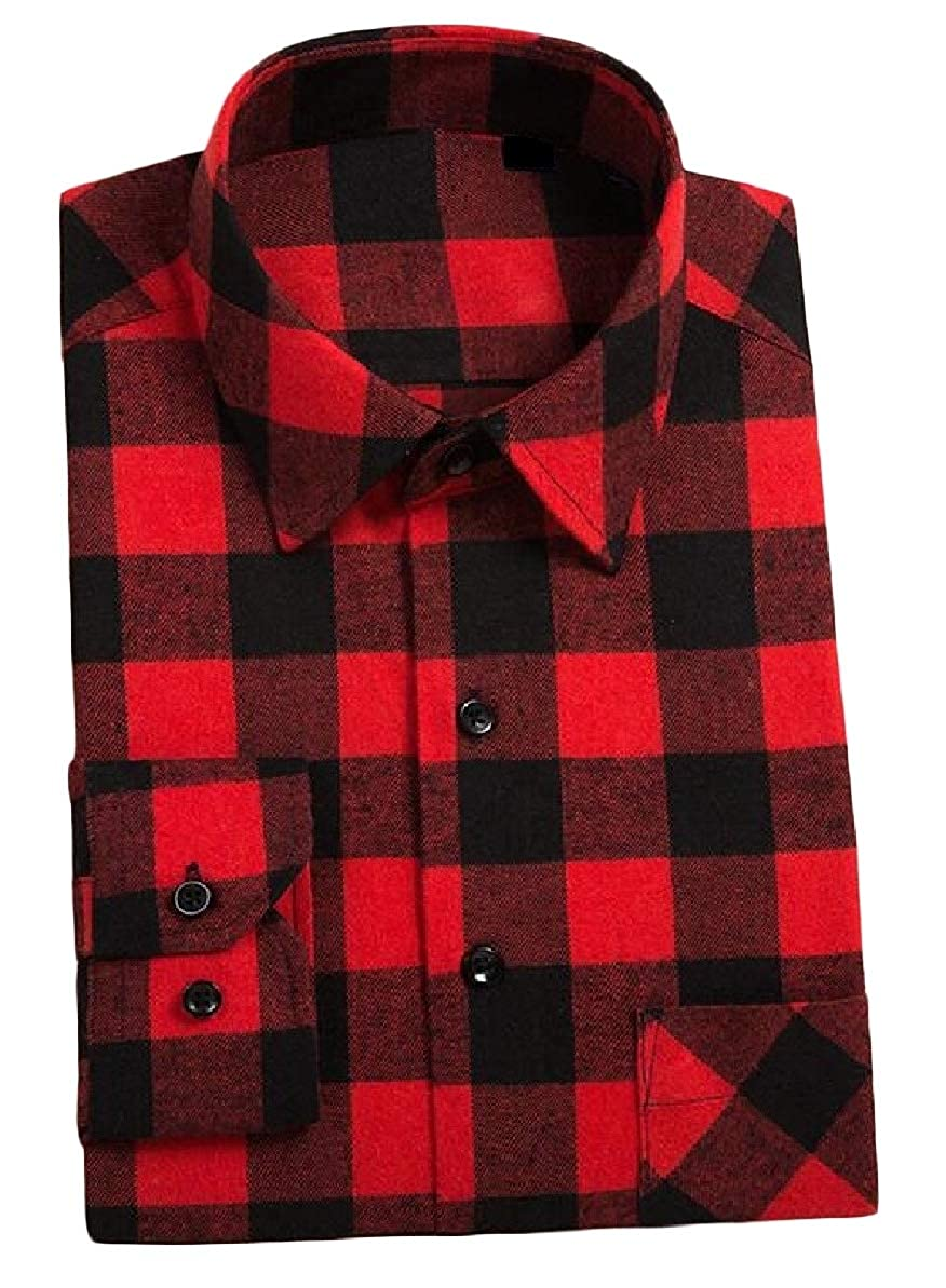 Zimaes-Men Casual Standard-fit Plaid Pattern Long-Sleeve Square Collor Flannel Shirts AS12 4XL