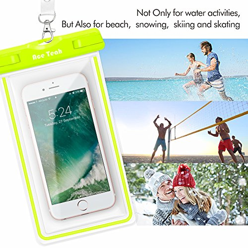 Waterproof Case, 2 Pack Ace Teah Clear Universal Waterproof Phone Pouch Underwater Dry Bag Snowproof Dirtproof for iPhone X 8 8Plus 7 7Plus 6 6SPlus Samsung Galaxy S8 S7 S6 Note 8 6 - Blue, Green