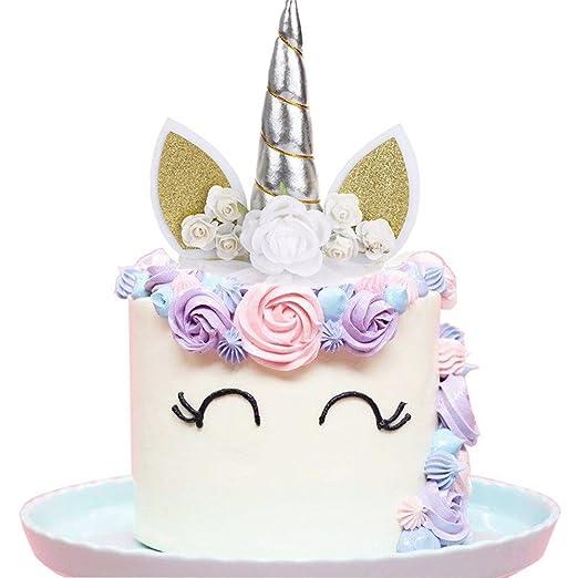 XMX unicornio cuerno orejas y flores decoración para tartas ...