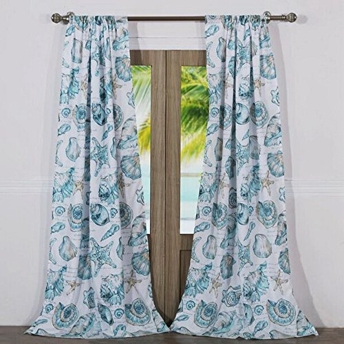 Finely Stitched Seaside Seashell Coastal Beach Inspired Window Treatments Tab Top Lined Curtains Panels 100% Polyester Aqua Blue Green, 84 inch Length Long Pair Set of 2 - Includes Bed Sheet Straps -