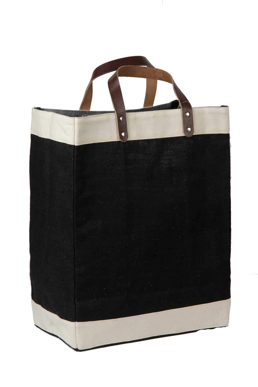 Pack of 25 – Eco-Friendly Jute Tote Bag with Cotton Accents Leather Handles 13 W x 17 H x 8 Gusset – Cyber Monday Week CarryGreen Bags