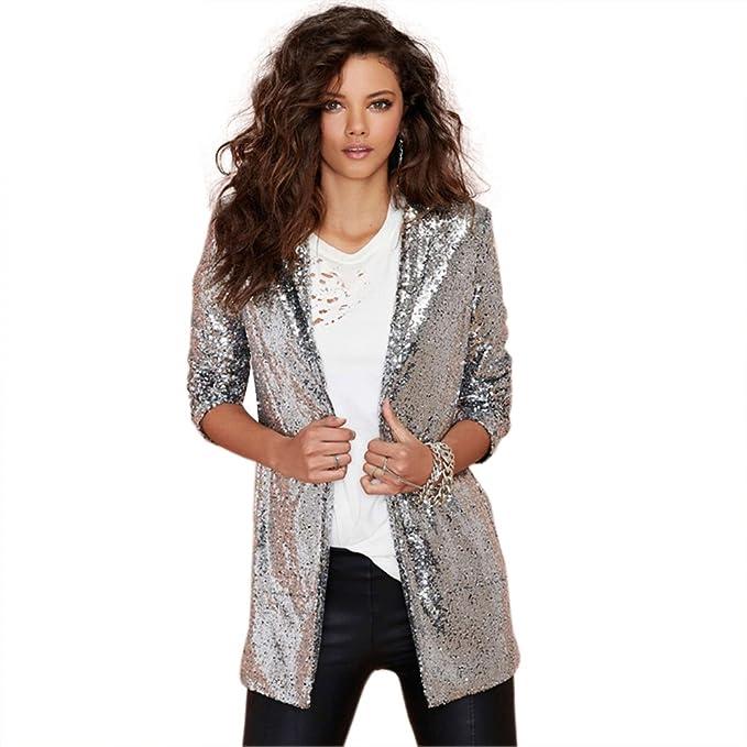 Tidecc - Chaqueta de traje - para mujer plateado plata ...
