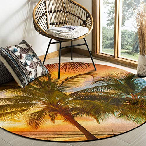 Libaoge Round Area Rugs 4 ft Diameter Indoor Aloha Mats Sunset Skyline Coconut Palm Tree Beach Scenery Soft Living Room Bedroom Unique Carpet Woman Yoga Mat Home Decor (Cushions Springs Custom Palm Patio)