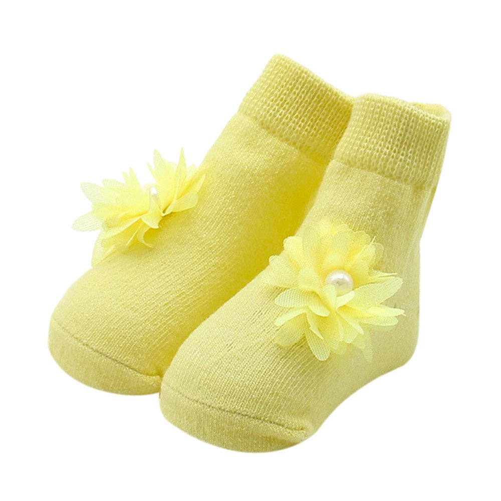 Quelife Baby Kids Girls Floral Bead Bow socks Cute Cotton Sock Slippers Warm Socks