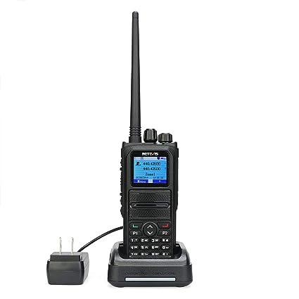Retevis RT84 DMR Dual Band Two Way Radio Digital Analog UHF VHF 3000 Ch  10000 Contacts 2000mAh Dual Time Slot LCD SMS Text Alarm Ham Radio(1 Pack)