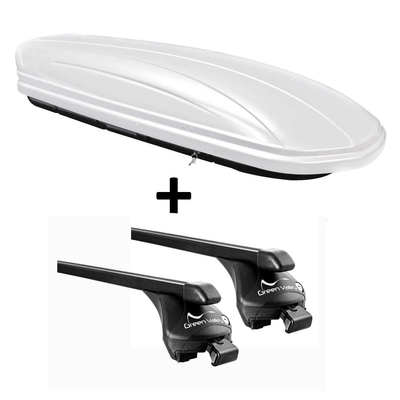 VDP Dachbox wei/ß VDPMAA320W 320 Liter abschlie/ßbar Relingtr/äger Dachgep/äcktr/äger aufliegende Reling im Set kompatibel mit Hyundai Santa Fe ab 2013 bis
