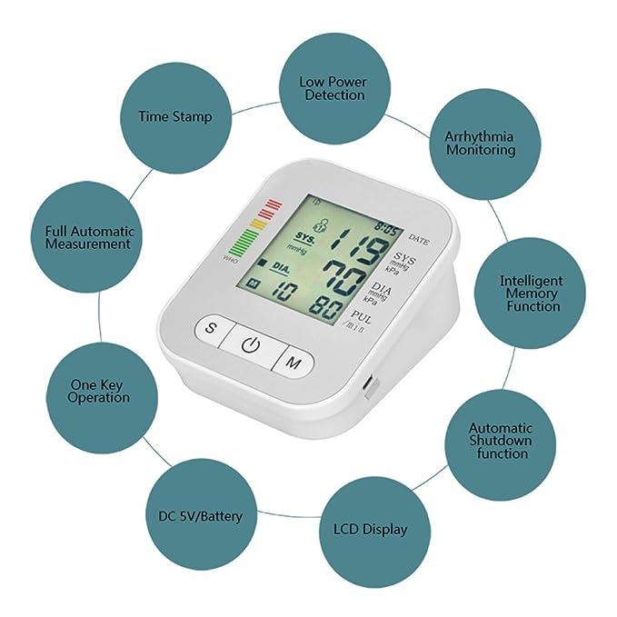 OXOQO Digital Monitor Di Pressione Sanguigna Braccio automatico LCD Heartbeat Home Sphgmomanometer, Bianco: Amazon.es: Salud y cuidado personal