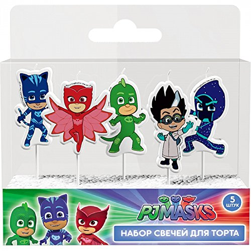 PJ Masks Molded Pick Candle Set (5ct) Birthday Party Supplies Cake Topper Decoration by PJ_Masks
