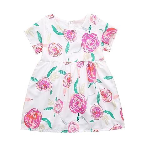 feiXIANG Vestido de niñas recién Nacido Ropa de niña de Manga Corta Vestido Estampado de Flores