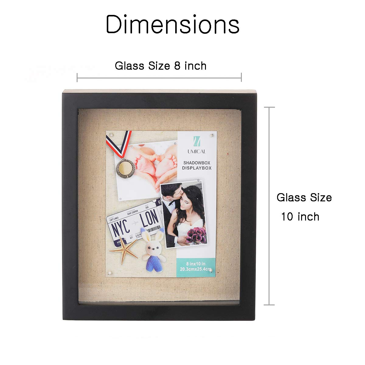 Wall Hanging /& Free Standing Deep Shadowbox Picture Frame with Linen Board UMICAL 8x10 Shadow Box Display Case 3D Showcase Keepsake Art Graduation Baby Wedding