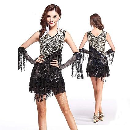 9d0c3e478 Sunsamy Fringe Flapper Costume Dress Women Dancewear Sleeveless V Neck  Floral Sequin Fringe Tassels Ballroom Samba