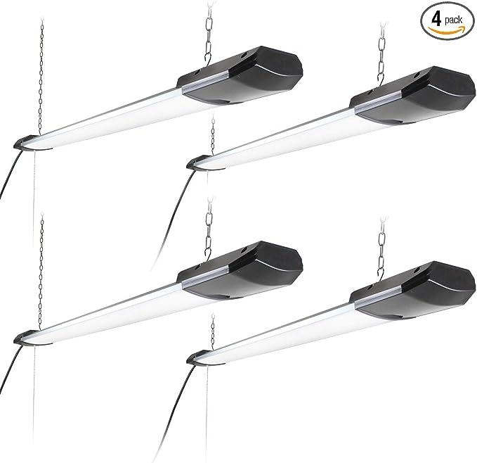 newhouse lighting nh shop 10k 4 shop 100w 10 000 lumens 4000k garage utility led ceiling lights chain mount silver 4 pack