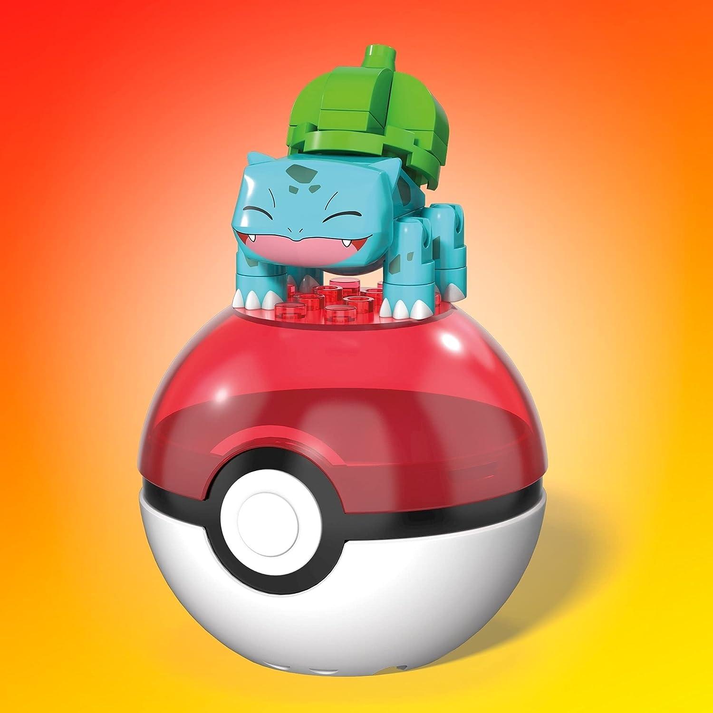 Mega Construx- Pok/émon Bulbasaur Pok/é Ball y Figura para Construir 30 Piezas Mattel GVK61 Multicolor