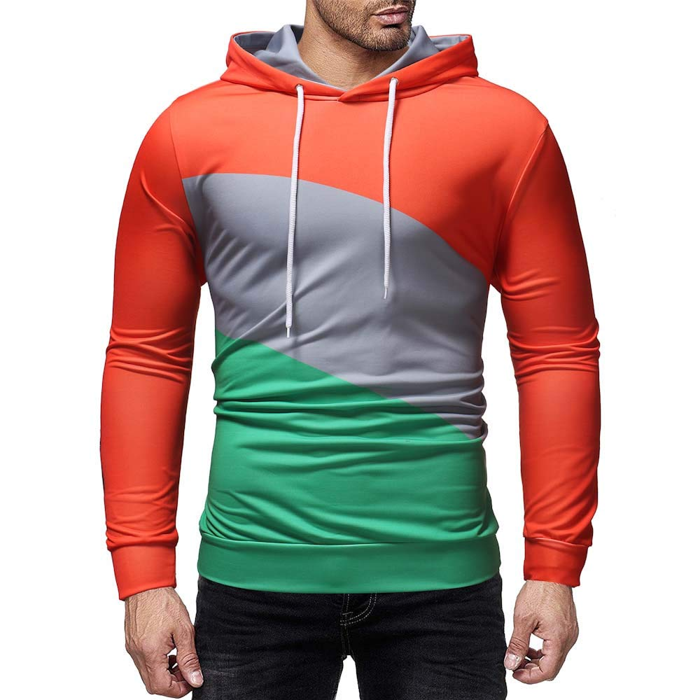 Patchwork Hoodies for Men, Corriee Casual Splice Long Sleeve Pullover Coat Mens Fall Sweatshirts Outwear Blouses