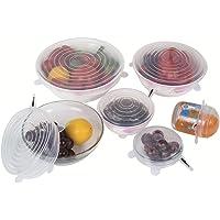 REDLEMON Tapas de silicón flexibles (paquete de 6), reutilizables, para mantener los alimentos frescos. Resistentes al Calor, Refrigeración, Antiderrames, Diferentes Tamaños
