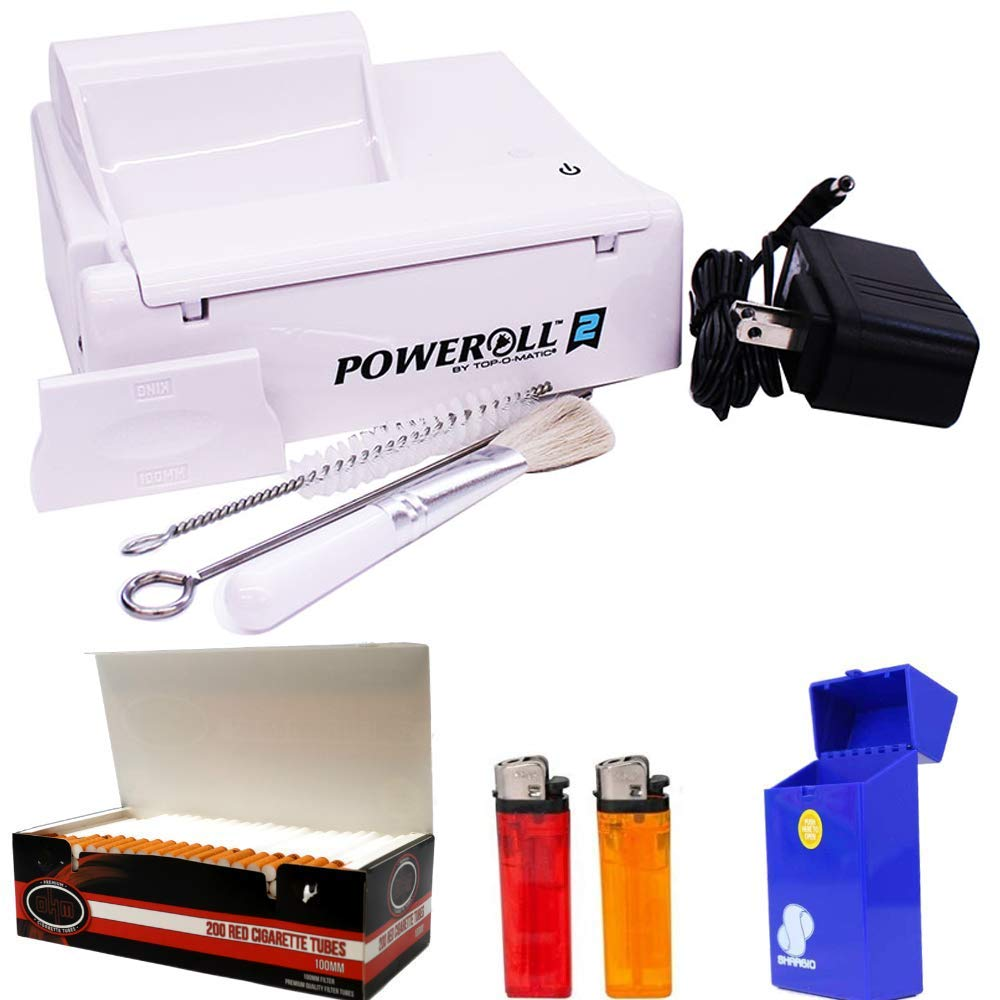 PowerRoll 2 Bundle Cigarette Tobacco Machine - RYO Power Roll King Size & 100MM by S SHARGIO