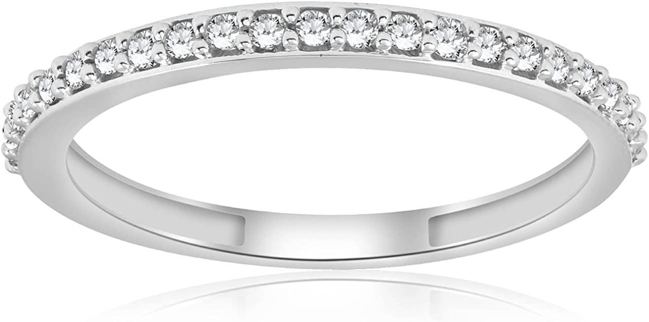 1/8ct Stackable Womens Diamond Wedding Ring 10k White Gold