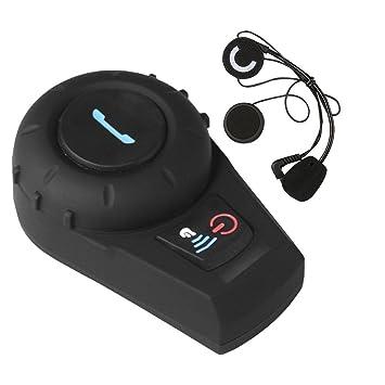 Suntime Auricular Bluetooth Motocicleta con Sistema de Comunicación de Micrófono, con Pantalla LCD Moto Inalámbrico Motocicleta Casco Intercomunicador ...