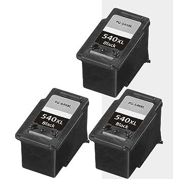 3 x Cartuchos para impresora Canon PG540 XL BK, PG-540 X L ...
