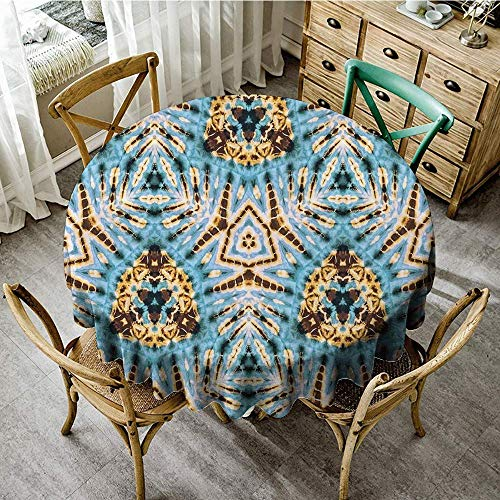 (DONEECKL Oil-Proof and Leak-Proof Tablecloth Tribal Tribal Stylized Trippy Shapes with The Dirt Grungy Paint Reflections Artisan Print Washable Tablecloth D51 Blue Gold)