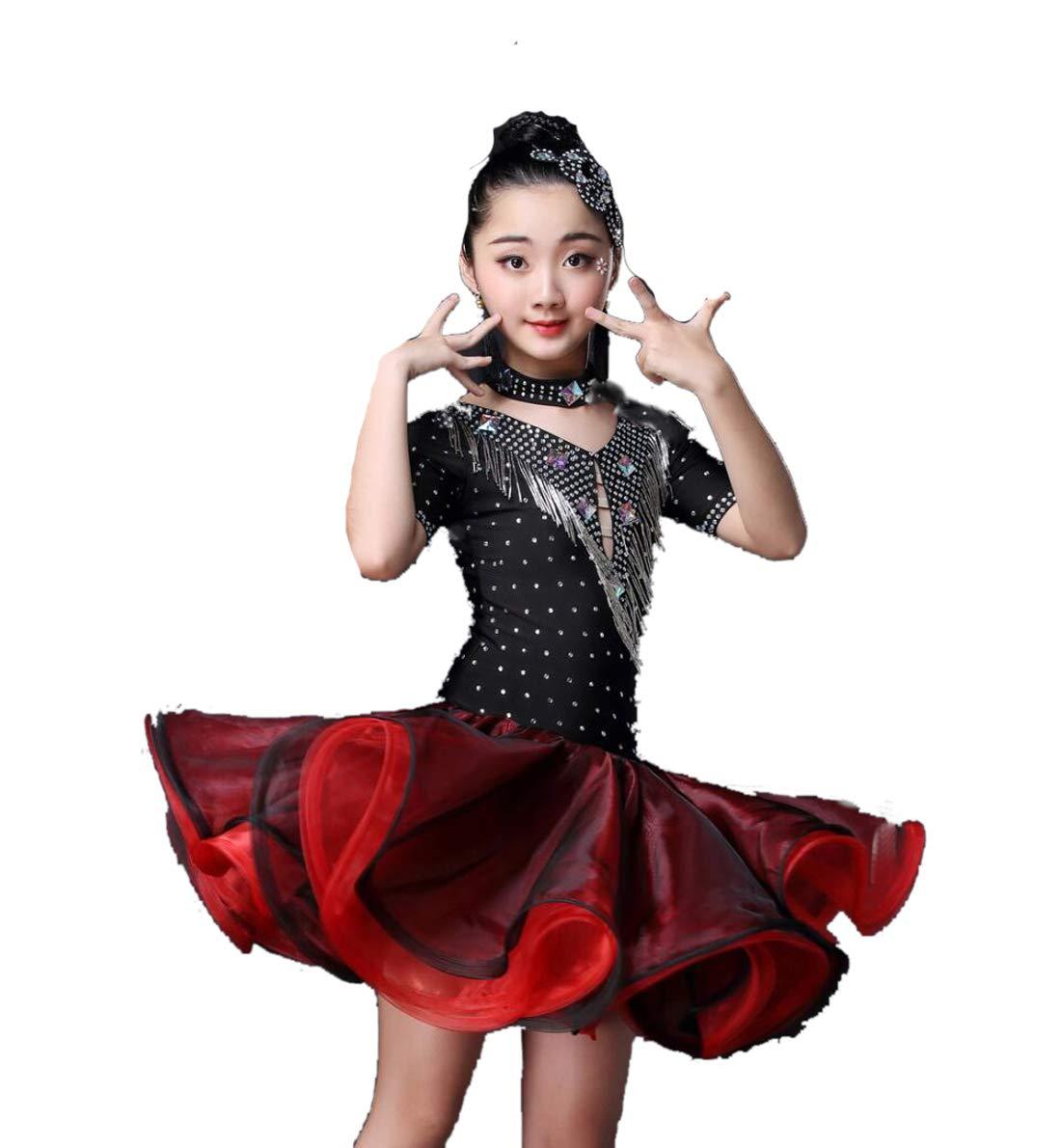 Noir SMACO Robe de Danse Latine pour Enfants, Robe de Danse Latine Fille pour Enfants 160CM
