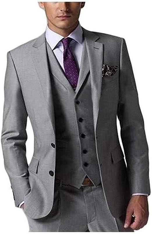 Amazon.com: SHENLINQIJ - Traje de boda para hombre, 3 piezas ...