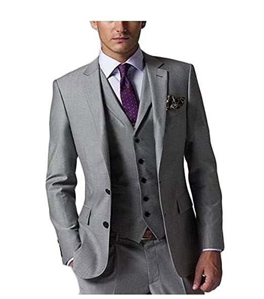 SHENLINQIJ Mens 3 Pieces Grey Wedding Suits for Business ...