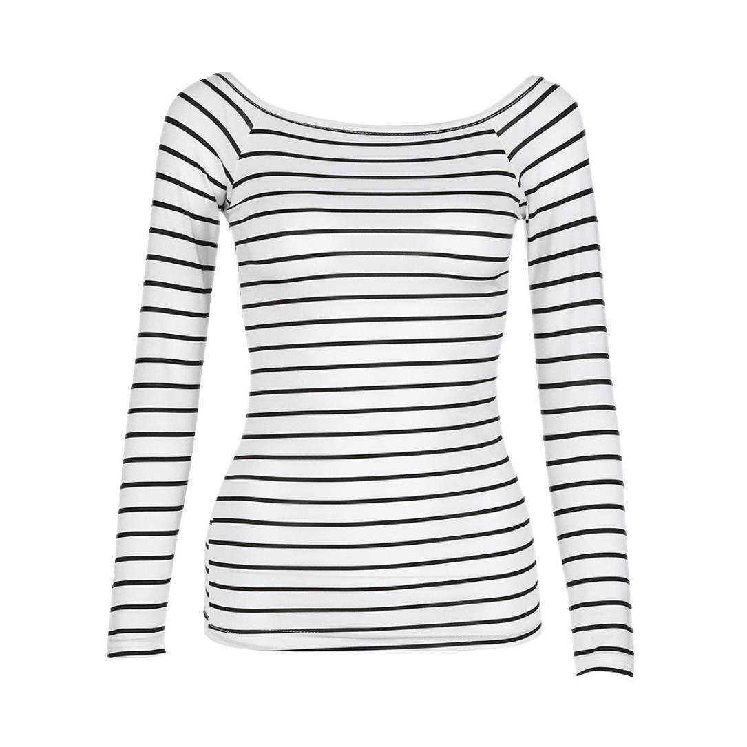 UONQD Woman Women Slim Round Neck Long Sleeve Striped Bottoming Shirt Blouse Tops UONQD women Jun.20