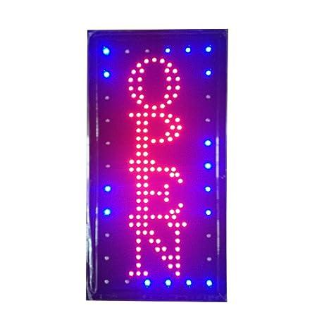 Signo luces de neon LED animado abierto clientes atractivo ...