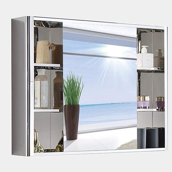 Armarios con espejo Acero Inoxidable Armario de Pared Mueble de baño de 80 cm Mueble de Almacenamiento de baño montado en la Pared con Estante Caja con Espejo: Amazon.es: Hogar