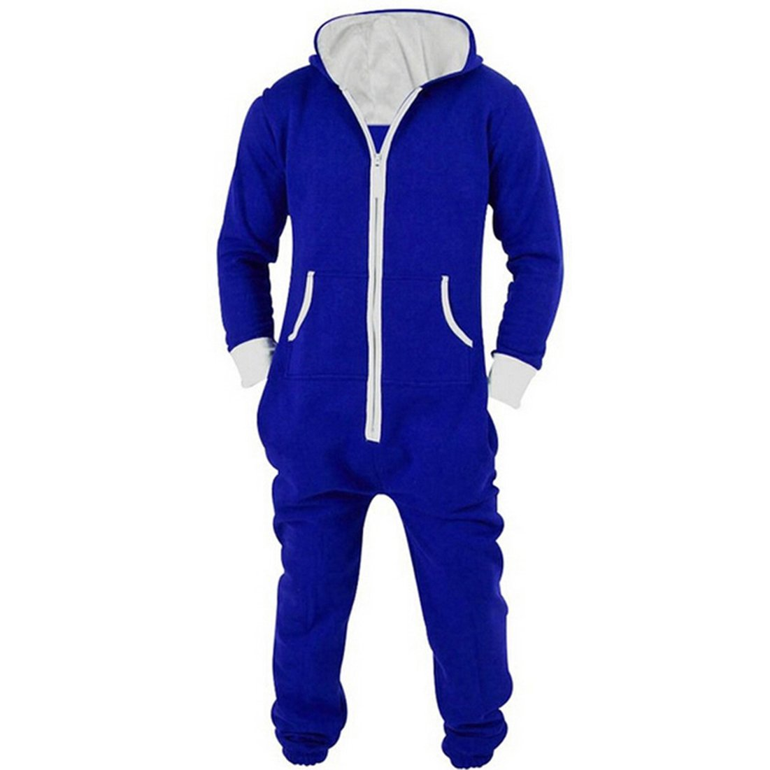 HDH Unisex Onesies Full Zip Up All In One Hooded Jumpsuit Playsuit Brushed For Men Women