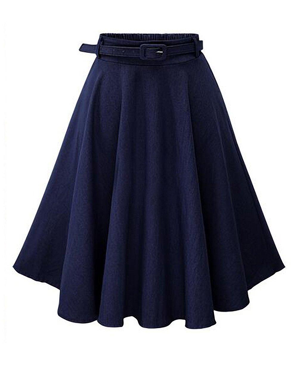 Women's Summer High Stretchy Waist A Line Full Swing Casual Denim Midi Skirt with Belt (Navy)