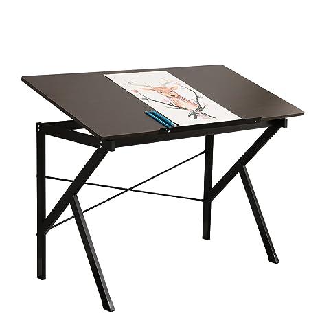 DlandHome 120 * 60cm Mesa de Dibujo/Escritorio, Bandeja de inclinación Ajustable en Altura para el hogar y la Oficina -SZ011 Negro