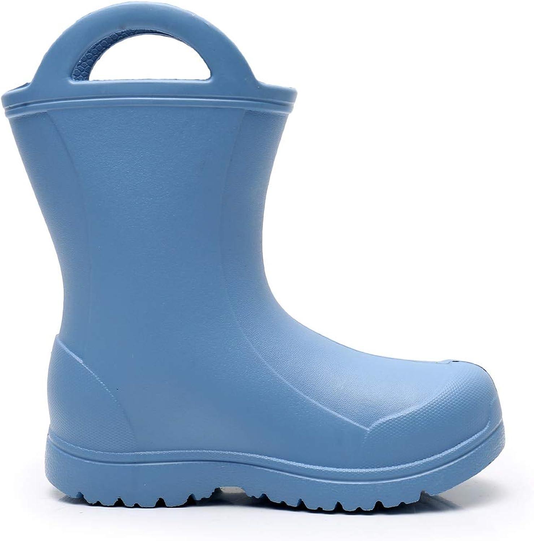 Apakowa Unisexe Enfants Gar/çons Filles L/éger Facile-on Poign/ées Bottes de Pluie Chaussure en Motifs Amusants et Couleurs Solides